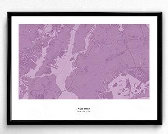 New York City Map Poster Art Monochromatic Color