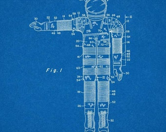 CLEARANCE - Spacesuit Patent Print - 13x19 Blueprint
