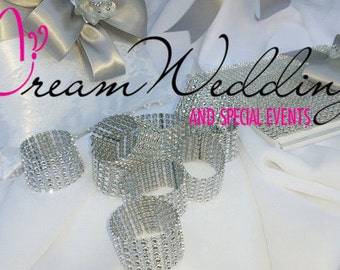 100pc Set Rings, Rhinestone napkin Rings, BLING Napkin Rings ,Silver Rhinestone Napkin Rings