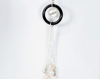 Moon Key Pendant and Chain in Moonstone, Black Onyx, Freshwater Pearl, and Sterling Silver