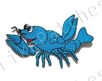 Blue Lobster - Happy Animal Cute Patch - New Sew / Iron on Patch Embroidered Applique Size 9.2cm.x5.5cm.