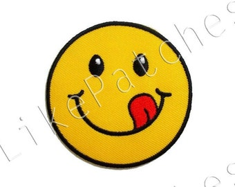 Yellow Funny Smiley Face New Sew / Iron On Patch Embroidered Applique Size 6.5cm.x6.5cm.