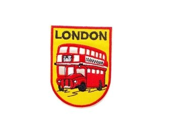 London Red Bus New Iron On Patch Embroidered Applique Patches Size 5cm.x6.7cm.