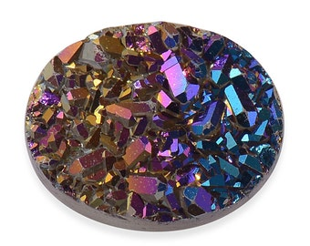 Rainbow Drusy Quartz Oval Cabochon Loose Gemstone 1A Quality 10x8mm TGW 1.45 cts.