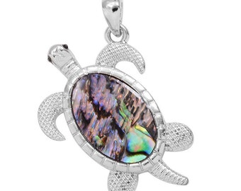 Sea Turtle Abalone Shell Pendant in Silver-tone Without Chain
