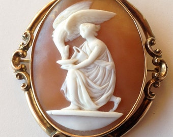 SALE! Mid Victorian 10K Gold Carved Shell Cameo Hebe and the Eagle of Zeus