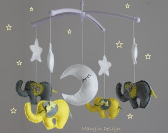 SALE! Yellow and grey elephant mobile baby cot mobile star moon elephant baby nursery decor yellow grey white musical mobile