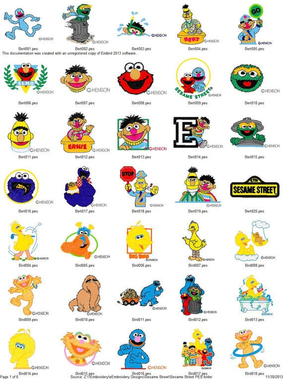 Sesame Street Characters Embroidery Machine Designs 190 Big