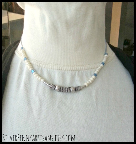 Choker Necklace/ Nautical Jewelry/ Simple Blue Ivory Silver Choker/ Beaded Necklace/ Blue Ivory Silver Jewelry