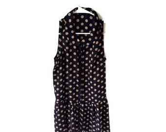 Vintage Polka Dot Peter Pan Collar Drop Waist Mini Dress
