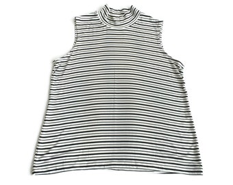 Stripe Sleeveless Mock Turtleneck Top