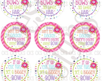 "1"" Digital Bottle Cap Sheet **INSTANT DOWNLOAD** Cute Hair Bow Sayings"
