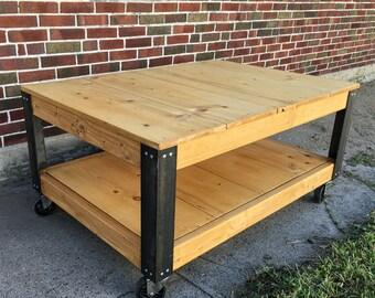 Rustic Industrial Reclaimed Wood Coffee Table Cart