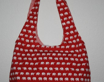 Tote Elephant pattern Red and White  Red and White Striped Lining