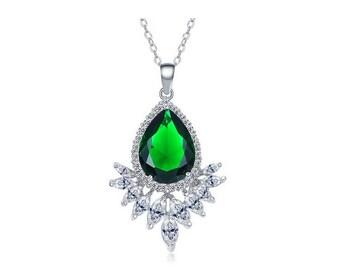 Emerald bridal necklace, diamond bridal jewelry, wedding crystal necklace, Swarovski bridal necklace, bridesmaid necklace