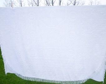 Vintage white chenille bedspread
