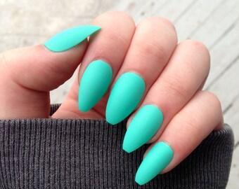 coffin nails, matte nails, teal nails, fake nails, press on nails