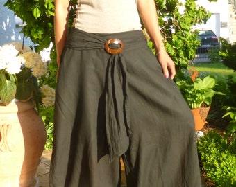 Cotton Pants with Coconut Buckle * Harem Pants * Sarouel *  Travel Pants * Gypsy Pants * Hippie Pants * Aladdin Pants * Genie Pants*PC-black