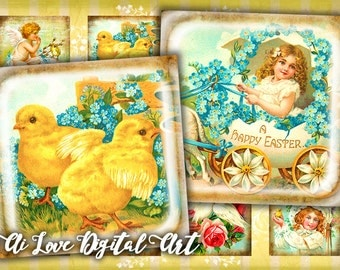Happy Easter digital collage sheet 1.5 inch, 20mm, 1 inch square instant download cabochon printable images ephemera vintage, jewelry making