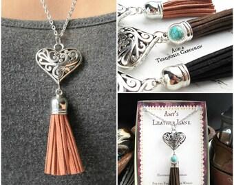 Boho Necklace Tassel-Boho Jewelry Tassel Necklace-Heart Necklace-Tassel Jewelry-Long Tassel Necklace-Boho Necklace Leather