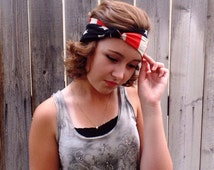 American Flag Knot Turban Headband, USA Headband, Boho Flag Headband, Womens Turban Headband, Patriotic Flag Headband, Uptown Girl Co