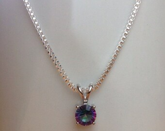 Round Rainbow Fire Mystic Topaz Necklace