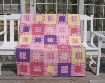A, B, C, 1, 2, 3 Quilt - Homemade - Made in Maine - Toddler Quilt- Child'sQuilt - Pink - Learning Quilt - Nursery - New Baby Quilt for Sale