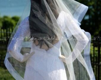 2 Inch Horsehair Mantilla Cathedral Veil, HorseHair Edge Drop Veil, Wedding Veil, Champagne Veil, Bridal Veil, White Veil, READY TO SHIP