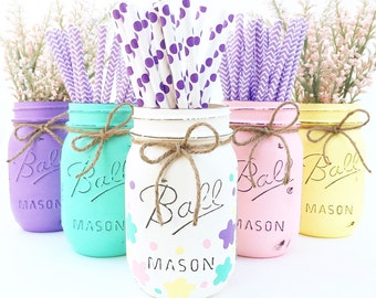 Set Of 5 Easter Mason Jars Decor Centerpieces