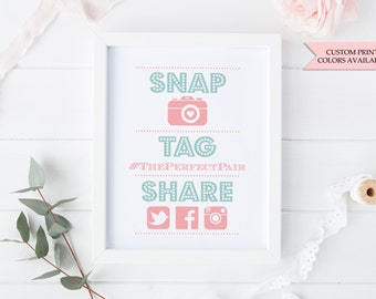 "Hashtag sign 8x10"" - Social media sign - Instagram sign - Wedding hashtag sign - Instagram wedding sign"