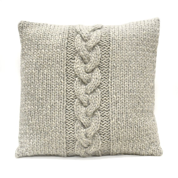 Chunky Knit Pillow Pattern : Items similar to Chunky knit Pillow, Wool knit Pillow, Cable knit Pillow, Dec...
