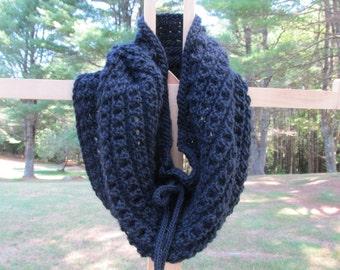 Tall Black Wool Cowl