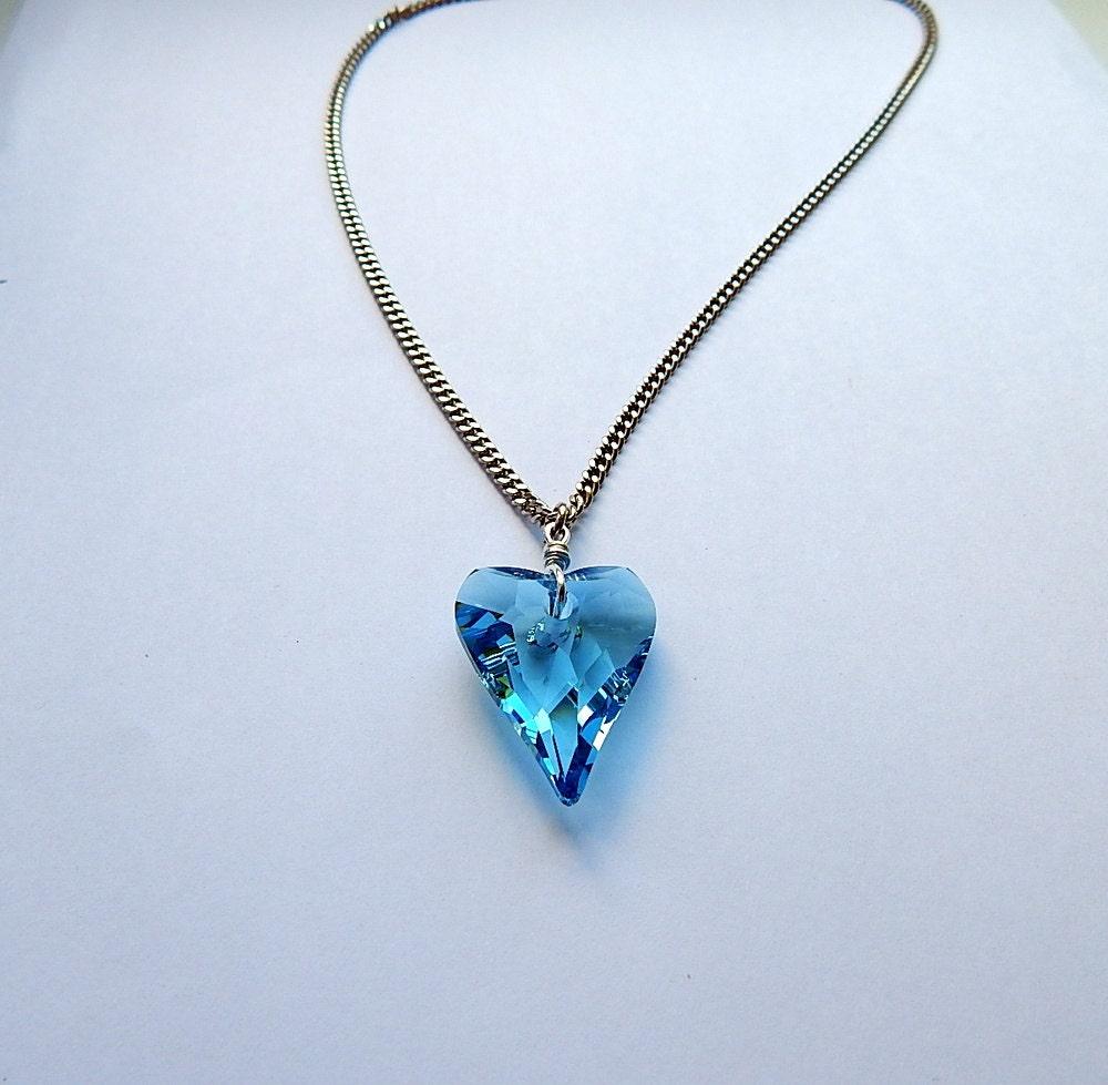 Blue heart Necklace Swarovski swarovski pendant Swarovski