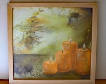 Mixed media - original art, pastel - candlelight