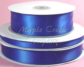 3/8 inch x 100 yards of Royal Blue Double Face Satin Ribbon