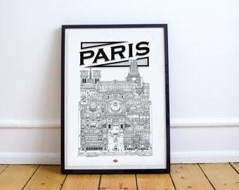 Paris - series illustration * Travel With Me *. Black and white. 32 x 45 cm.
