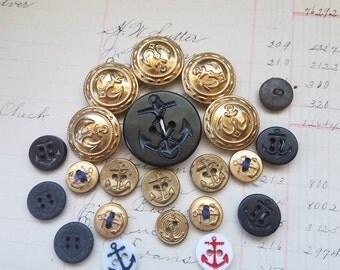 22 Piece Vintage Antique Anchor Button Lot