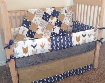 navy and brown deer crib bedding/navy and brown arrow crib set/brown arrow and deer crib set/blue and brown deer baby bedding set/burlap