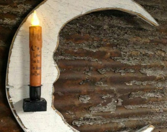 Primitive Moon Candle Holder w/Battery Candle Handmade Decor