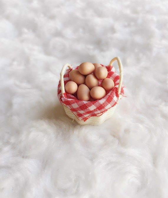 Eggs in the rantan basket Miniature,Doll house&Miniatures, Collection,Miniature Eggs, Easter,Basket with eggs,Miniature Egg,Miniature basket