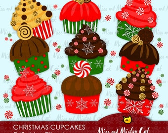Christmas Cupcakes Cliparts. Commercial use, vector graphics, digital clip art, digital images.