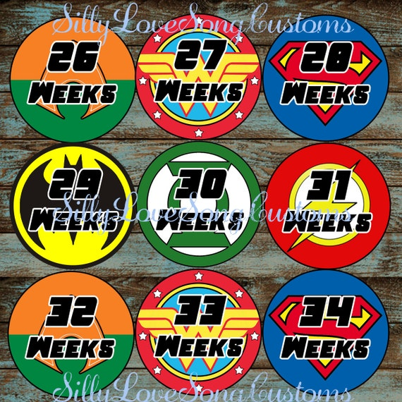 Justice League Inspired Printable Monthly Baby Stickers Or Weekly Bump Stickers Digital Files