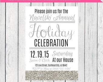 Holiday or Christmas Party Invitation ***Digital File*** (Holiday-Silver White)