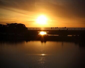 Agua Hedionda Lagoon, Sunset, Palm Trees, Ocean, Carlsbad, California