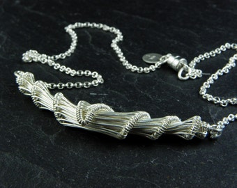 Cahan, cocoon necklace woven in sterling silver