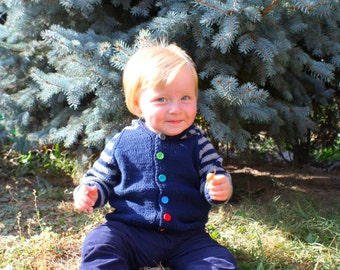 """Navy blue grey hoodie hand knitted for baby boy in EU size 80,12 months old """"navy stone"""""""