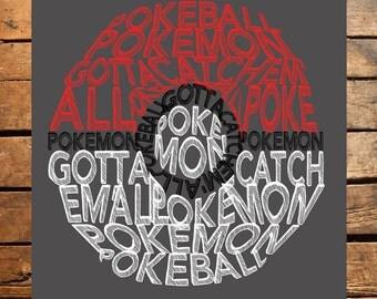 Pokeball Typography Digital File