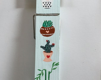 Hand painted jumbo wood clothespin - Succulent and plant accessory