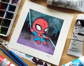 Spiderman Watercolor Print by Michelle Coffee