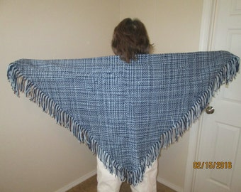 Blue six foot triangular shawl